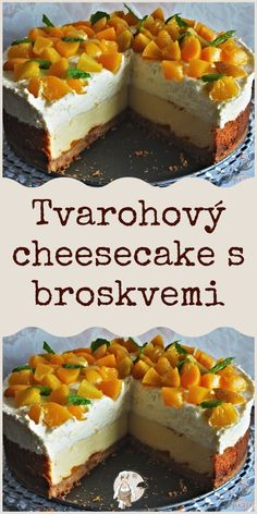 Tvarohový cheesecake s broskvemi Food And Drink, Cupcakes, Sweets, Baking, Desserts, Recipes, Tailgate Desserts, Deserts, Goodies