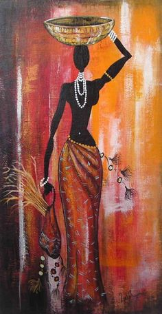 African afro art, african paintings y art. Black Women Art, Black Art, Afrique Art, African Art Paintings, African American Art, Woman Painting, Tribal Art, Fabric Painting, Indian Art