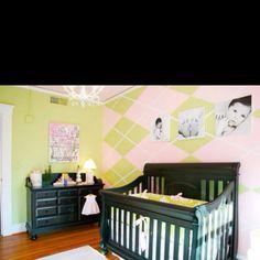 Dream nursery with argyle wall Dark Nursery, Nursery Art, Nursery Ideas, Argyle Wall, Pink And Green Nursery, Big Girl Rooms, Baby Rooms, Baby Design, Nursery Design