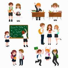 happy children fun activities at school like painting,studying,learning, jumping.Back to school vector background,children back to