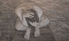 """""""The boy""""( panel of tryptic """"The lamented"""") pencil and white conté cm 100x60"""