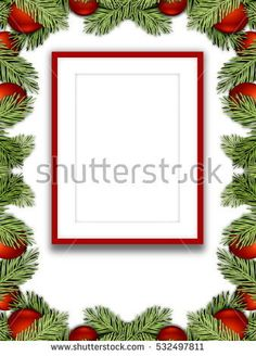 #Stock #photo: #blank #red #picture #frame on #white #background #red #Christmas #ornaments #leaves #shutterstock