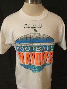 Vintage 1990 Football Playoffs T-Shirt 50/50 Unique Great Color Tacoma Dome by 413productions on Etsy