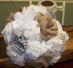 Wedding Bridal Bouquet in Burlap, Cotton Fabric Flowers and Ticking. $139.00, via Etsy.