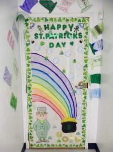 This is a colorful classroom door that was designed by a teacher named Debbie for St. Patrick's Day.
