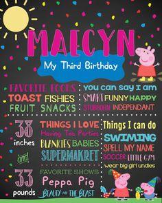 Peppa Pig Birthday Chalkboard Print