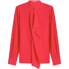 Agnona Ruffle Front Silk Blouse (1,955 PEN) ❤ liked on Polyvore featuring tops, blouses, shirts, red, red ruffle blouse, silk shirt, silk blouse, ruffle blouse and long sleeve shirts