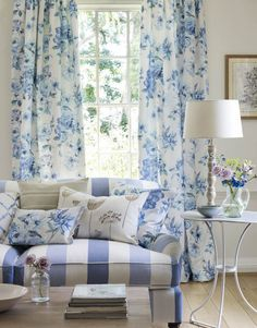 Jane Churchill's Mayflower (drapes), Brixham Stripe (sofa), Solano (pillow), Porlock Stripe (pillow), Culpepper (pillow), Mayflower (pillows) #interiors #janechurchill #textiles