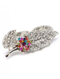 CRYSTAL FLOWER LEAF DOUBLE LADIES FASHION STRETCH RING - View All Rings - Rings - Jewellery