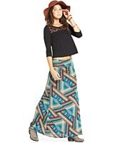 American Rag Lace-Panel Top & Printed Foldover Maxi Skirt  (only like skirt)