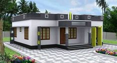 3 Bedroom Low Cost Home Design in 1073 Square Feet with Free Plan - Free Kerala Home Plans Flat Roof House Designs, House Roof Design, Village House Design, Kerala House Design, Home Building Design, Bungalow House Design, Small Modern House Plans, Best Modern House Design, Beautiful House Plans