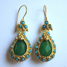 Green Jade and Turquoise Drop Antique Style  Earrings - Ethnic Earrings - Turkish Jewelry