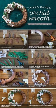 Paper Orchid Flower Wreath - Lia Griffith - www.liagriffith.com #diywreath #diywreaths #crepepaperrevival #paperflower #paperflowers #diyproject #diyprojects #madewithlia