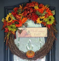 Welcome Fall Wreath by hgab129 on Etsy, $55.00