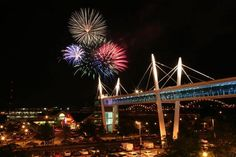 Red, White and Boom, at Davenport, Iowa. Fireworks over the Mississippi River, July 4, 2013, with the Sky Bridge in the background.