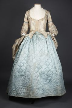 1750-60 Springhill Costume Collection © National Trust / Andrew Patterson. A pale blue silk satin petticoat, quilted, with a wool fibre interlining. Design of shells, with band of feather, daisy and sunflowers around hem.
