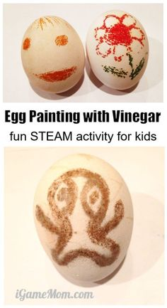 Egg painting with vinegar, fun STEAM activity combining science and art for Easter egg painting and egg coloring. chemical engineering for kids Egg painting with vinegar, fun STEAM activity combi Science Crafts, Science Activities For Kids, Steam Activities, Science Fair Projects, Easter Activities, Craft Projects For Kids, Science Experiments Kids, Stem Projects, Preschool Science