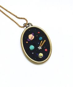 Hand embroidered ' Space ' Necklace di BaobapHandmade su Etsy