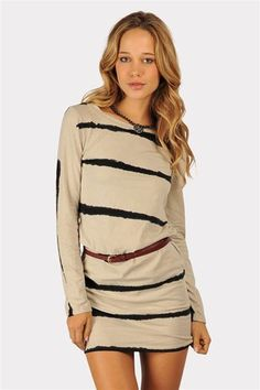 Ink Striped Dress - Beige at Necessary Clothing