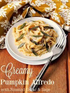 Creamy Pumpkin Alfredo with Roasted Garlic and Sage from www.bobbiskozykitchen.com