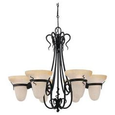 Sea Gull Lighting Saranac Lake 6-Light Forged Iron Single Tier Chandelier-3211-185 at The Home Depot