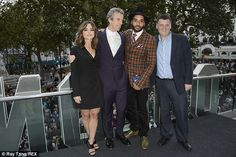 Dream team: Jenna and Peter cosied up with new castmember Samuel Anderson, who plays Danny...