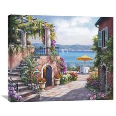 "Global Gallery 'Tuscan Terrace' by Sung Kim Original Painting on Wrapped Canvas Size: 29.88"" H x 36"" W x 1.5"" D"