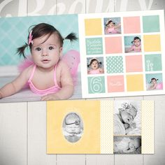 Baby Album Template: Watch Me Grow First Year Book Template Project Life, Album Design, Book Design, Baby Photo Books, Baby Books, Watch Me Grow, Book Layout, Scrapbook Albums, Scrapbooking