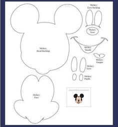 Moldes - Minnie e Mickey Mouse Mickey Minnie Mouse, Mickey Mouse Template, Mickey Mouse Crafts, Theme Mickey, Mickey Party, Mickey Mouse Birthday, Disney Crafts, Scrapbook Da Disney, Felt Crafts