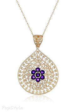 Amethyst Gemstone Flower Pendant Necklace