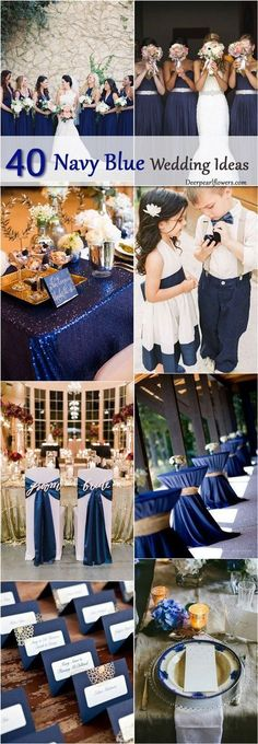 Navy is the perfect color to use for your wedding. It's softer than the harsh tones of black, but it is still elegant and timeless. It is so easy to get caught up in the latest color trends – we're looking at you blush and gold – so give this look a spin with your décor. We promise you won't be disappointed. This list of 40 navy ideas is a great starting point - http://www.deerpearlflowers.com/navy-blue-and-white-wedding-ideas/