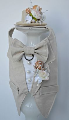 Boy Dog Linen Tuxedo Harness ~ Custom made in colour of your choice ~ Stunning seashell boutonniere ~ Matching top hat available ~ Adorable for any dog attending a spring wedding   KOCouture