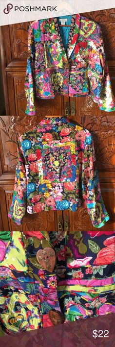 Beautiful Sandy Starkman Jacket Vintage jacket.  Brightly colored.  Detailed stitching.   Heart design. Sandy Starkman Jackets & Coats Blazers