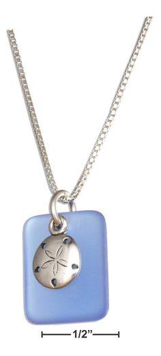 "Sterling Silver 18"" Cornflower Blue Sea Glass Sand Dollar Pendant Necklace"