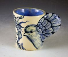 Blue and white little bird wing cup with two ladies hand made One of a kind