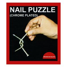 Nail Puzzle (chrome plated) by Premium Magic - A pair of Nails are twisted around each other, and cannot be separated unless you know the simple secret. Of course you are not permitted to force the Nails out of shape, or straighten get it here: http://www.wizardhq.com/servlet/the-17068/nail-puzzle-chrome-plated-by-premium-magic/Detail?source=pintrest