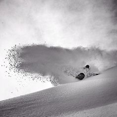 Josh Dirksen - super nice guy and one of the best riders around.  Awesome powder slash.  Photo: Oli Gagnon #snowboarding