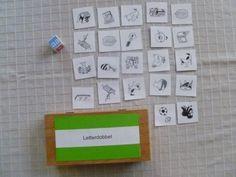 Dit spel kan in een hoekenwerk in het eerste leerjaar gebruikt worden. Het spel bestaat uit afbeeldingen en een letterdobbelsteen. In de afbeeldingen moeten letters aanwezig zijn, die op de dobbelsteen staan. De leerlingen moeten met de dobbelsteen gooien en samen alle woorden zoeken waar deze letter in voor komt. Ze kunnen ook tegen elkaar spelen en elk om het meest woorden zoeken.