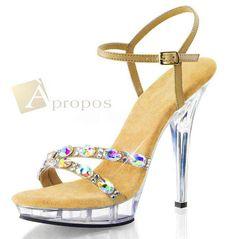 Sandale Damen Klar High Heel Beverly Hills USA 10cm Strass Flats Transparent