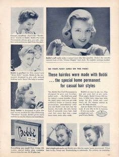 Photo of a 1950's magazine advertisement for a home permanent