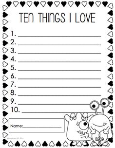 First grade writing prompts printables math first grade literacy and math teaching holidays special occasions kindergarten . First Grade Writing Prompts, Writing Lists, Work On Writing, Teaching Writing, Writing Activities, Writing Paper, James Bond Auto, Valentines Day Activities, Holiday Activities