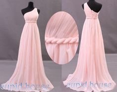 Long Pink Bridesmaid Dress One-shoulder Mint Coral Grey Blush Pink Purple Navy Blue Black Wedding Party Dress Cheap Prom Dress Under 100 COLOR:Navy or grey