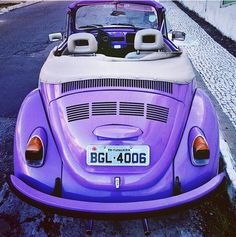 Awesome, Old VW Beetle Convertible painted Purple!