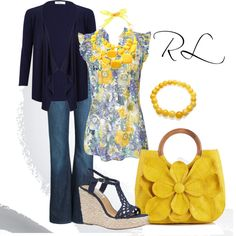 Navy Wedges and Yellow Purse - fresh color combo! Casual Outfits, Cute Outfits, Fashion Outfits, Womens Fashion, Fashion And Beauty Tips, Passion For Fashion, Tips Belleza, Weekend Wear, New Wardrobe
