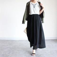 GU夏小物×涼しげスカーチョでコーデ&朝ごはん|ほぼ日GUプチプラコーデログ♥︎MUMU's Shoes Box♥︎