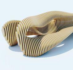 Фрагмент параметрической скамьи #p_metric - параметрическая  мебель из фанеры P.metric #furniture #wood #plywood #parametricdesign #parametric #table #sofa by est_maza