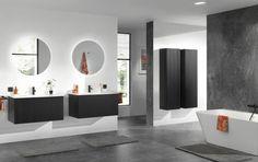 Architecturale inspiratie: Inspiratie is overal! Dat bewijst de massief houten FORMA meubelreeks, geïnspireerd door de verticale architecturale structuur aan de buitenzijde van moderne houten gevels. Omdat je inrichting je persoonlijkheid weerspiegelt! #Balmani #badkamermeubel #forma #zwarte eik #x2o Decoration, Bathroom Lighting, Mirror, Modern, Furniture, Home Decor, Shapes, Wall Cladding, Lens Flare