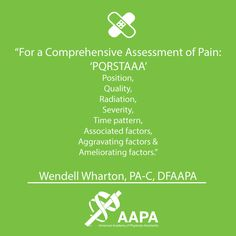 Transitioning from the classroom to clinical rotations can be daunting, so we asked our Distinguished Fellows to provide advice for students on clinical rotations in a new series #ClinicalTip. Wendell Wharton, PA-C, DFAAPA shared a mnemonic device for assessing and diagnosing pain.