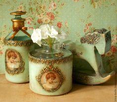 """Купить Набор"""" Юная леди"""" - бирюзовый, стеклянные бутылочки, декоративная лошадка, портрет леди"""