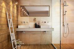 Banheiro super charmoso com produtos Arenisca e Vecchia Ipê.